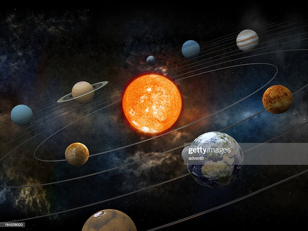 Sun and nine planets orbiting : Stock Photo