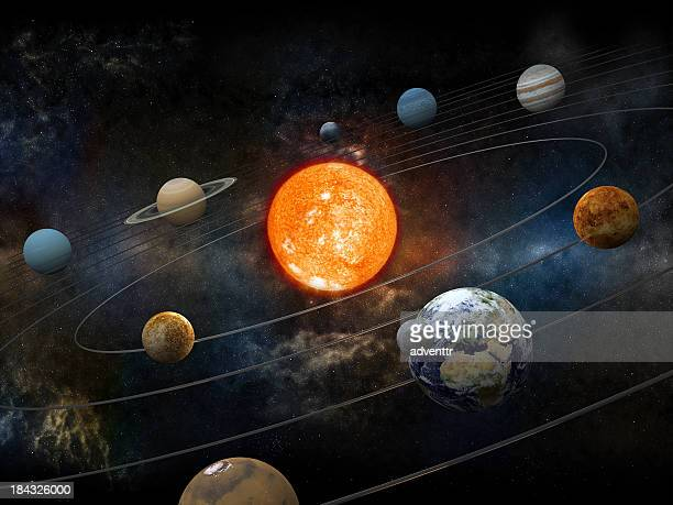 sun and nine planets orbiting - solar system stock pictures, royalty-free photos & images
