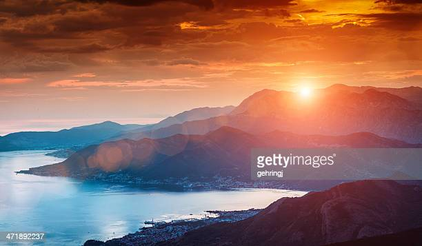 sun beams through clouds - montenegro bildbanksfoton och bilder