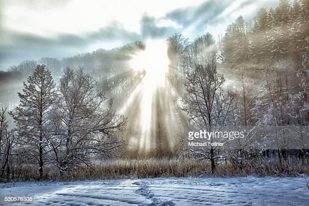 Sun breaking through in winterly landscape