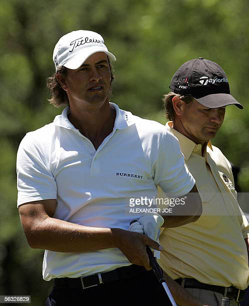 Australian Adam Scott look at his shot a the 7th teeoff with South African golfer Retief Goosen during the third round of the Nedbank Golf Challenge...