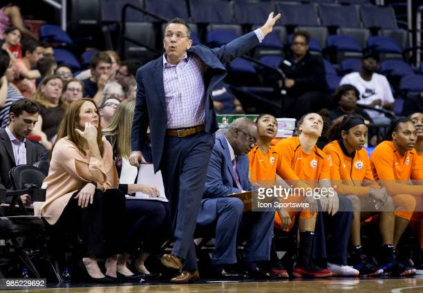 Sun coach Curt Miller directs a play during a WNBA game between the Washington Mystics and the Connecticut Sun on June 26 at Capital One Arena in...