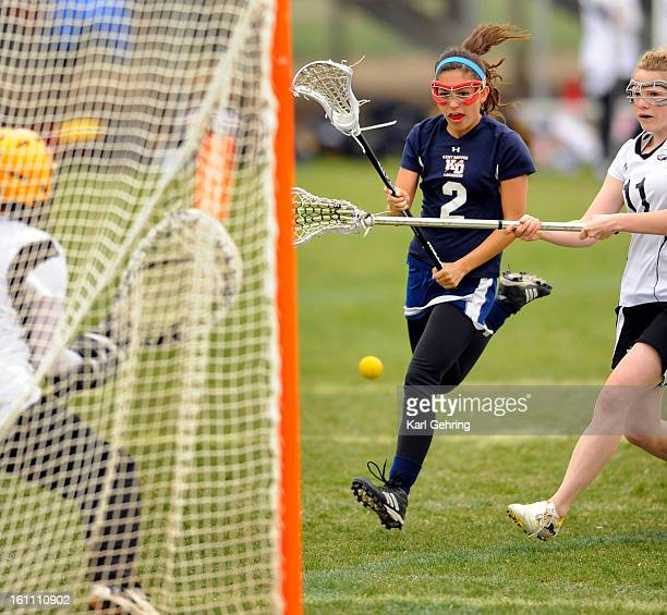 Sun Devils attacker Mara Miller fired a shot on goal in the first half. The Kent Denver High School girls lacrosse team defeated Thompson Valley 19-7...