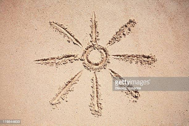 Sun drawing on sand