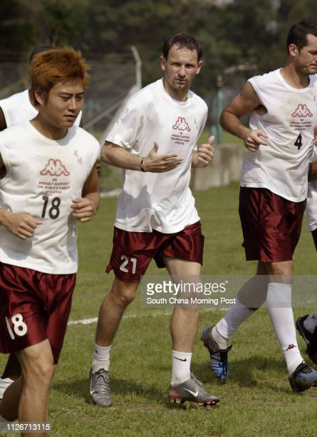Sun Hei soccer team player Dejan Antonic along with his teammates pictured in a training session ahead of Friday's FA Cup Final, at Fat Kwong St....