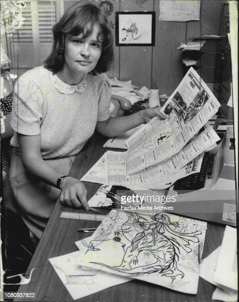 Sun Herald kids page journalist Shan Small at her desk Hut 1 7th floor January 19 1982