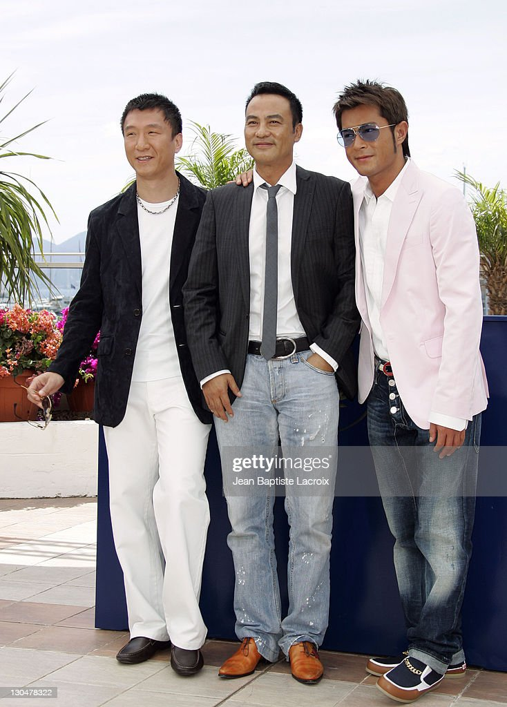Sun Hong Lei, Simon Yam and Louis Koo during 2007 Cannes Film Festival - 'Triangle' Photocall at Palais des Festivals in Cannes, France, France.