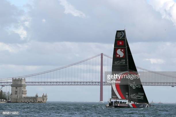 Sun Hung Kai Scallywag team captained by Australian David Witt in action during the Volvo Ocean Race 20172018 Inport Race at the Tagus River in...