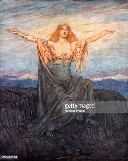Sun I hail thee Hail O light Hail O glorious day' 1924 Illustration from Siegfried and the Twilight of the Gods Brunnhilde awakes and greets the...