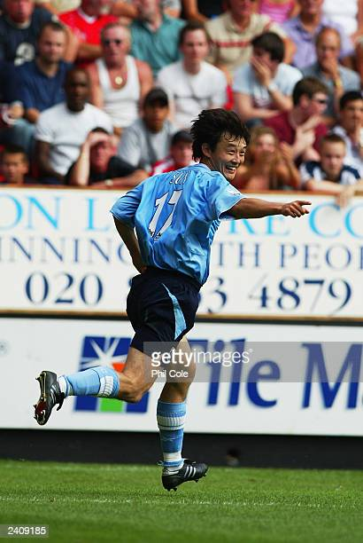 Sun Jihai of Manchester City celebrates scoring during the FA Barclaycard Premiership match between Charlton Athletic and Manchester City on August...