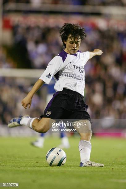 Sun Jihai of Manchester City in action during the FA Barclaycard Premiership match between Birmingham city and Manchester City at St Andrews on...