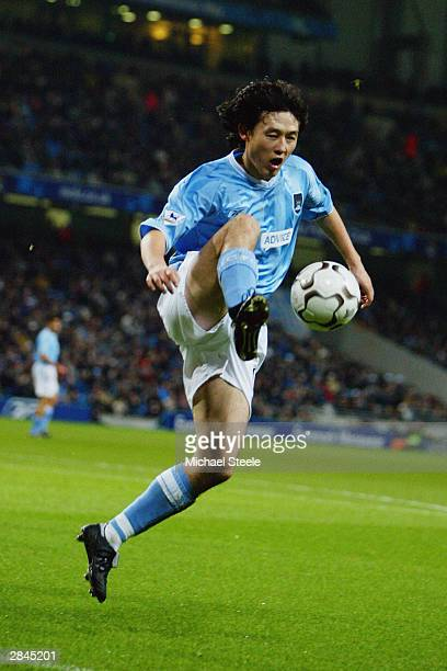 Sun Jihai of Manchester City takes control of the ball during the FA Barclaycard Premiership match between Manchester City and Leeds United on...