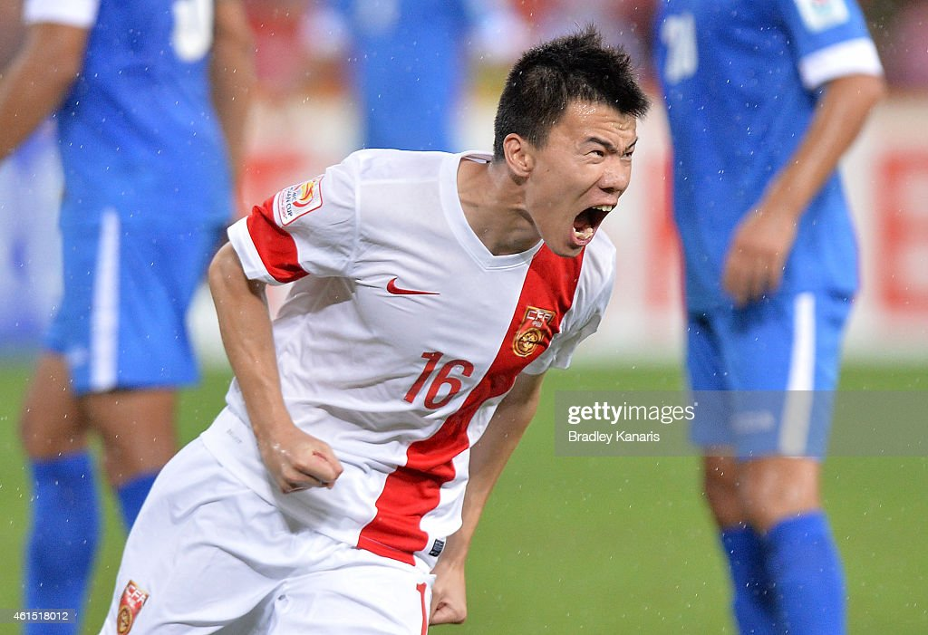 Sun Ke of China celebrates after scoring a goal during the 2015 Asian Cup match between China PR and Uzbekistan at Suncorp Stadium on January 14, 2015 in Brisbane, Australia.