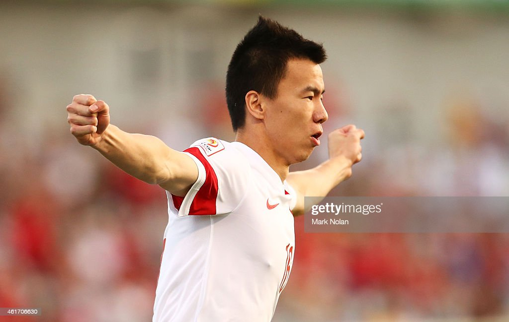 Sun Ke of China celebrates after scoring a goal during the 2015 Asian Cup match between China PR and DPR Korea at Canberra Stadium on January 18, 2015 in Canberra, Australia.
