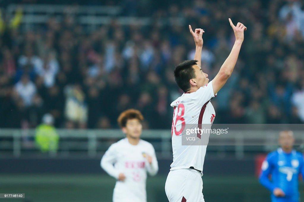 Sun Ke #38 of Tianjin Quanjian celebrates a goal during the 2018 AFC Champions League Group E match between Tianjin Quanjian FC and Kitchee SC at Tianjin Olympic Center Stadium on February 13, 2018 in Tianjin, China.
