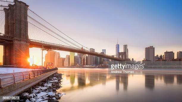 Sun kissed Brooklyn bridge