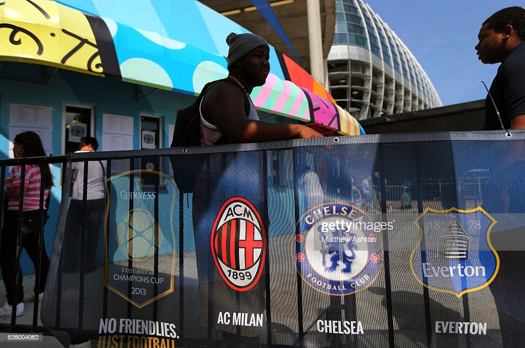Sun Life Stadium in Miami Gardens, Florida home to NFL team the Miami Dolphins staging the International Champions Cup with the logos of Chelsea and Everton on signage