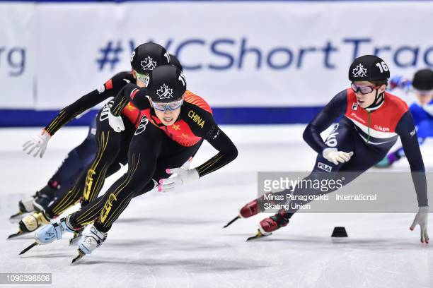 Sun Long of China takes the lead in the men's 3000m relay final during the ISU World Junior Short Track Championships at Maurice Richard Arena on...