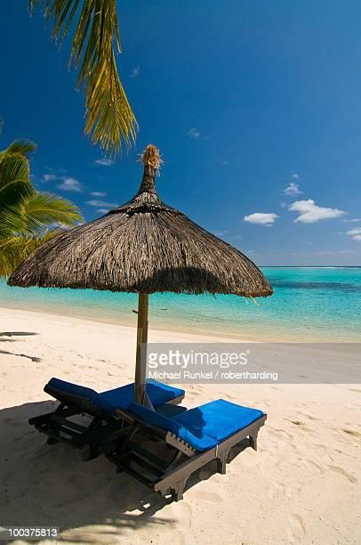 Sun lounger on the beach, Mauritius, Indian Ocean, Africa