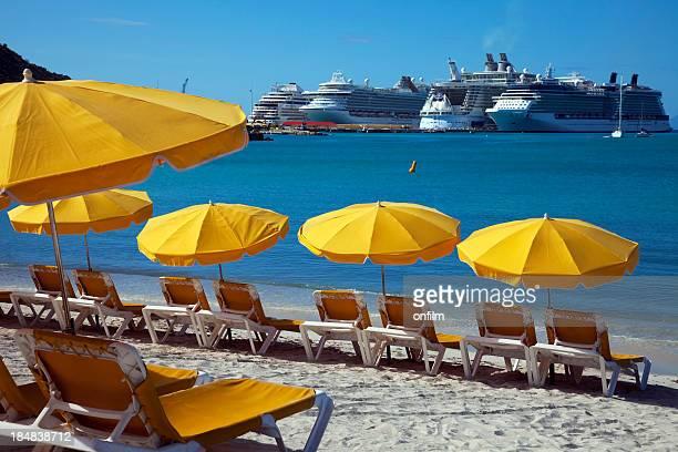 Sun loungers and sunshades on the beach