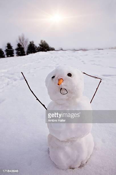 Sun melting a snowman