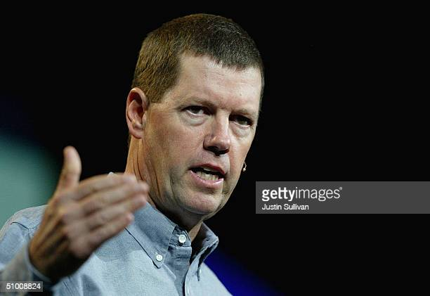 Sun Microsystems CEO Scott McNealy delivers the keynote address at the 2004 JavaOne Worldwide Developers Conference June 29 2004 in San Francisco The...