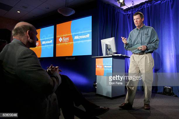 Sun Microsystems Chairman and CEO Scott McNealy, addresses a crowd of reporters and analysts May 13, 2005 at the Garden Court Hotel in downtown Palo...