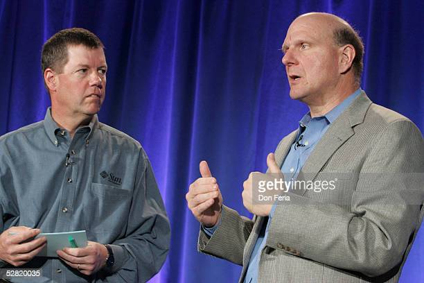Sun Microsystems Chairman and CEO Scott McNealy and Microsoft Corporation CEO Steve Ballmer address a crowd of reporters and analysts May 13, 2005 at...