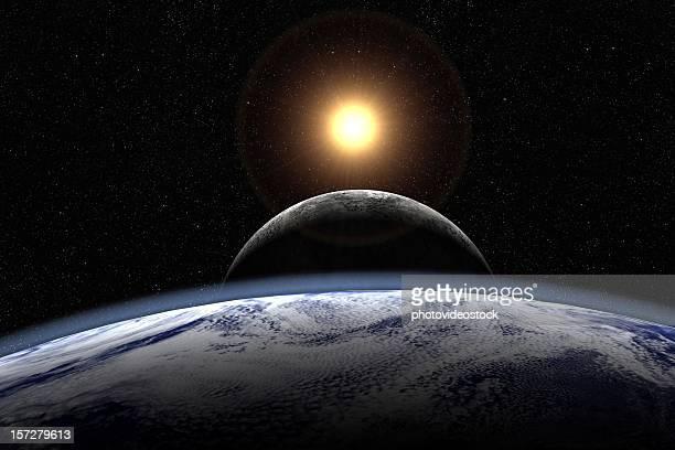 Sonne, Mond und Erde übergeben (mit sichtbaren starfield