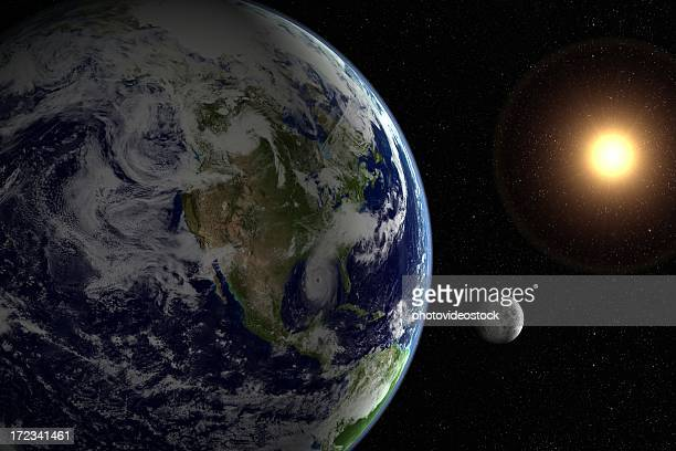 sun, moon, earth and starfield - turning stock pictures, royalty-free photos & images