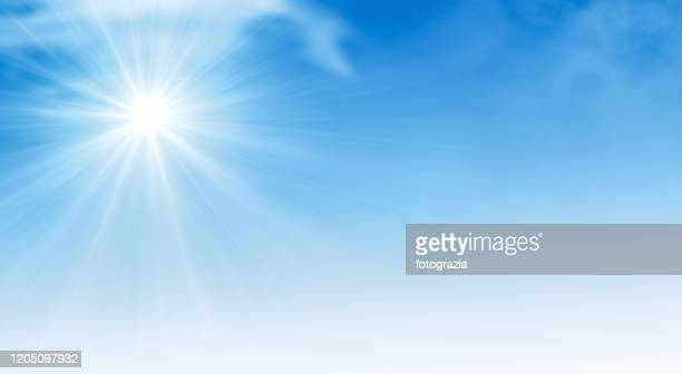 sun on blue sky - clear sky stock pictures, royalty-free photos & images