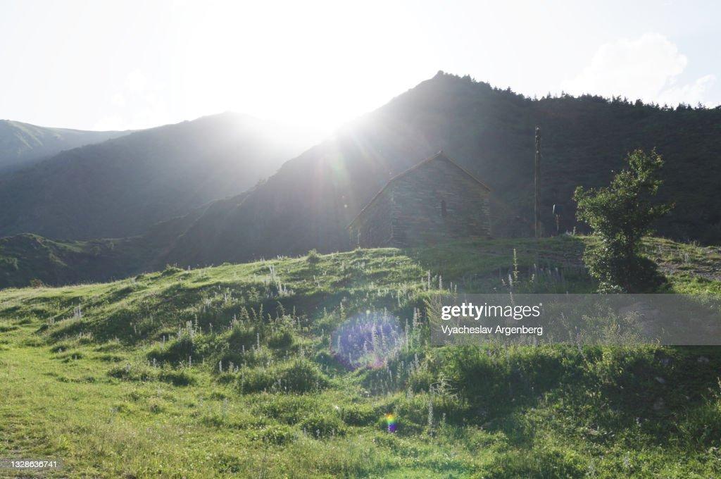 Sun over mountains, Caucasus Mountains, Georgia : Stock Photo