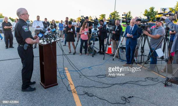 Sun Prairie Wisconsin police chief Patrick Anhalt talks to the media and displaced residents after an gas line explosion on July 11 2018 in Sun...