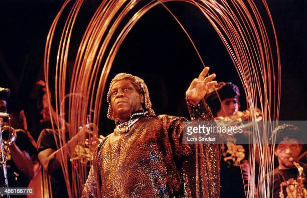 Sun Ra and his Sun Ra Archestra perform with a steel sculpture on September 23 at Hill Auditorium in Ann Arbor Michigan