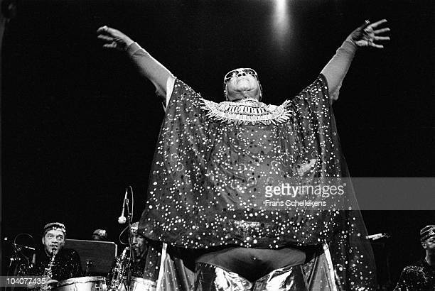 Sun Ra performs on stage with the Sun Ra Arkestra Marshall Allen bottom left at Meervaart on April 15 1984 in Amsterdam Netherlands