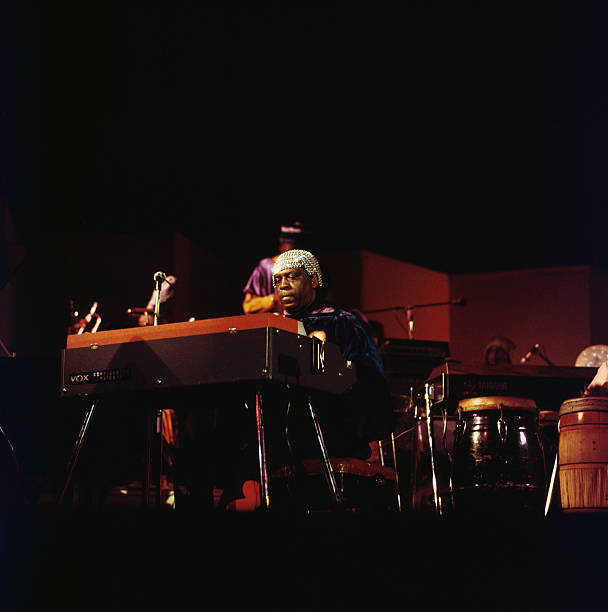 Sun Ra , U.S. jazz pianist and band leader, playing...