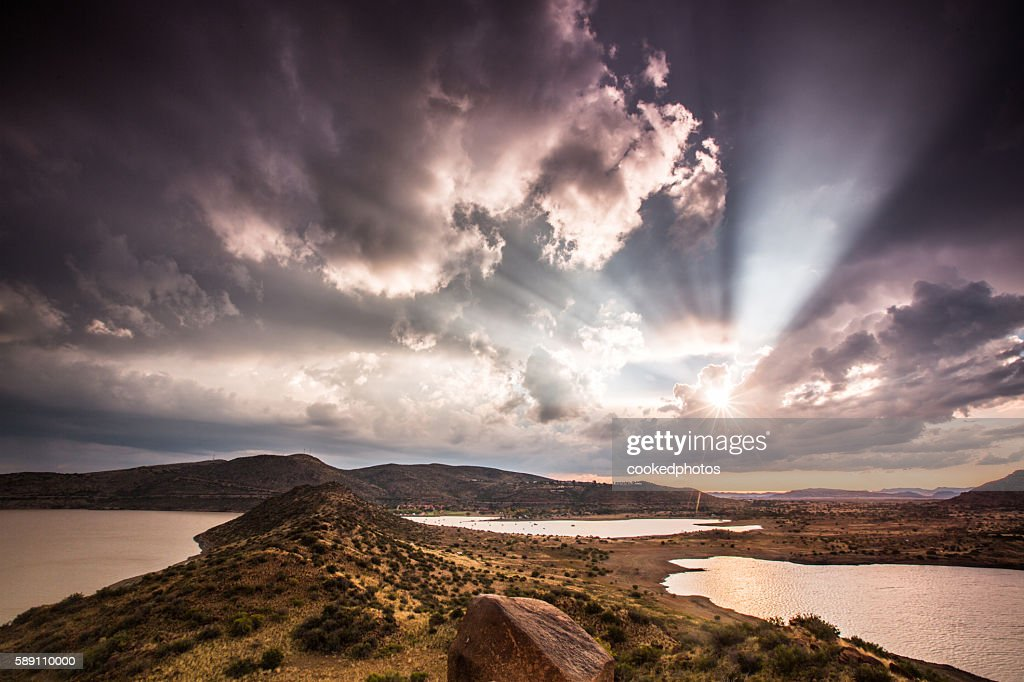 Sun Rays Gariep : Stock Photo