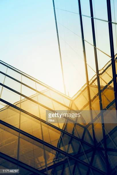 Sun reflecting off the exterior of a modern glass building