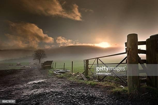 Sun rise over farm