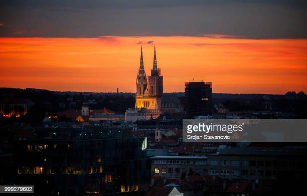 Sun rise over the city of Zagreb on July 15 2018 in Zagreb This is the first time Croatia has reached the final of the Football World Cup They take...