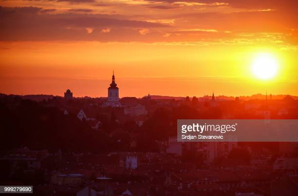 Sun rise over the city of Zagreb on July 15, 2018 in Zagreb. This is the first time Croatia has reached the final of the Football World Cup. They...