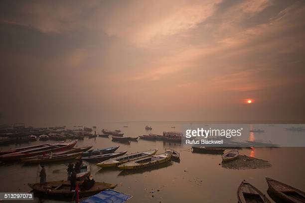 Sun rises over the river Ganges