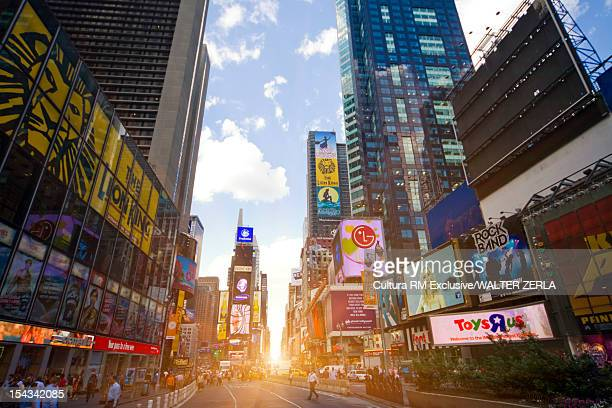Sun rising in Times Square, New York