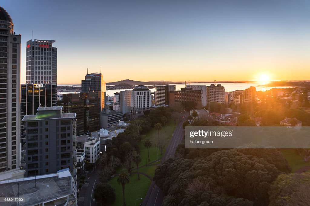 Sun Rising Over Auckland City Centre : Stock Photo