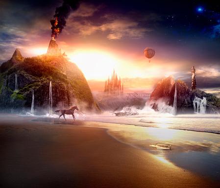 Sun rising over dramatic landscape - gettyimageskorea