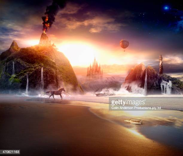 sun rising over dramatic landscape - dreamlike stock pictures, royalty-free photos & images
