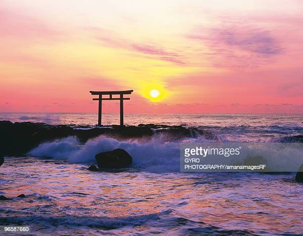 Sun rising over the sea,  Oarai,   Ibaraki Prefecture,  Japan