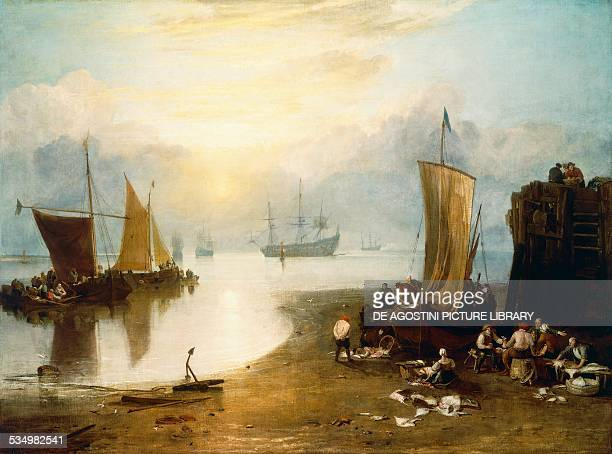 Sun rising through vapour fishermen cleaning and selling fish before 1807 by William Turner oil on canvas 134x179 cm United Kingdom 20th century...