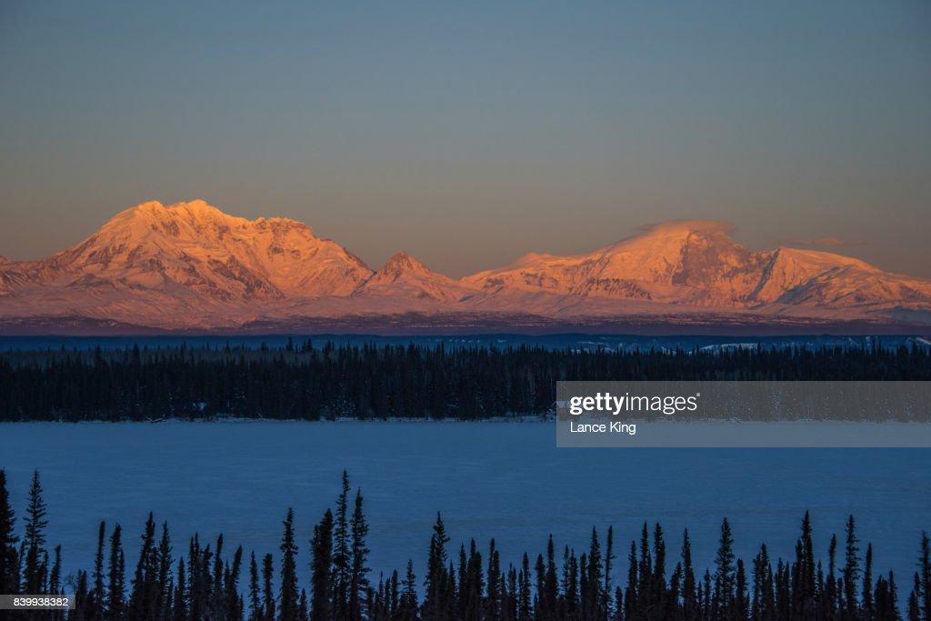Sun Sets On Mount Drum And Mount Sanford In Wrangellst Elias