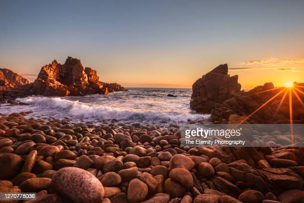 sun sets over the pinnacles at cape woolamai, phillip island, victoria, australia - phillip island stock pictures, royalty-free photos & images